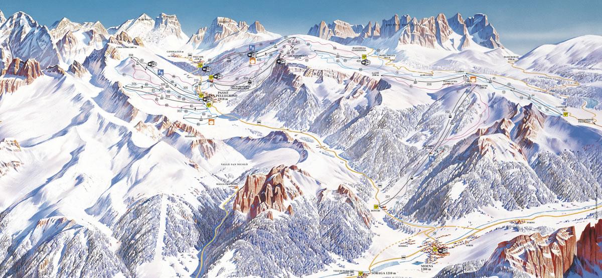 Mapa sjezdovek Passo San Pellegrino/Falcade