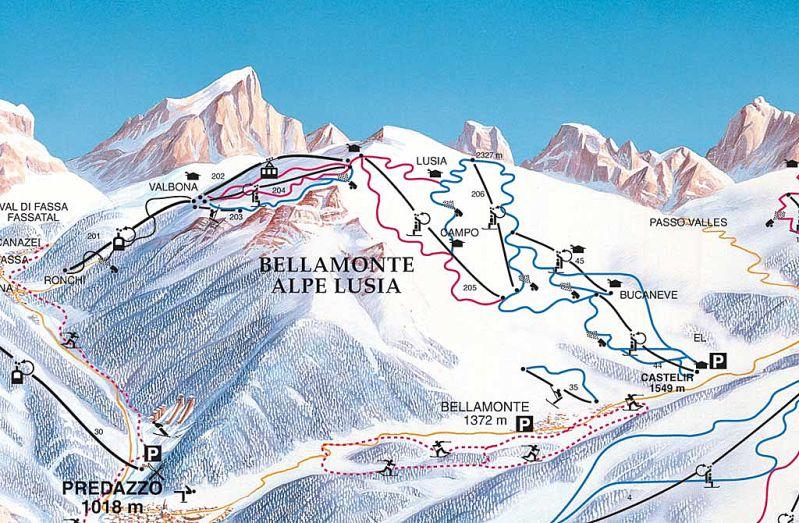 Mapa sjezdovek Bellamonte